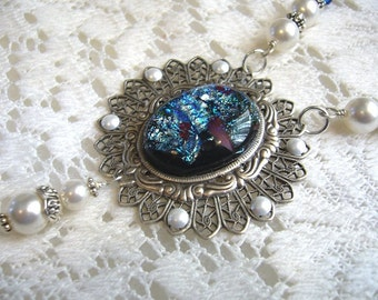 Pearly Delight Victorian Dichroic Necklace And Pendant