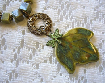 Olive Jewel Ceramic And Brass Beaded Necklace