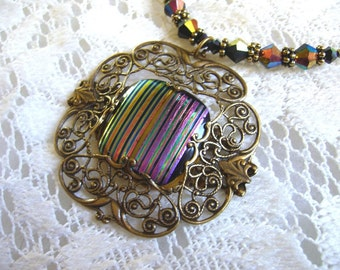 Stripes Forever Victorian Pendant And Necklace