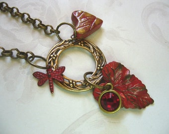 Red Nature Brass And Ceramic Necklace