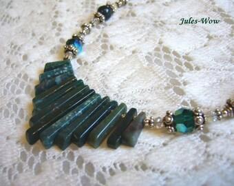 SALE - Blood Stone Green Fan Sterling Necklace