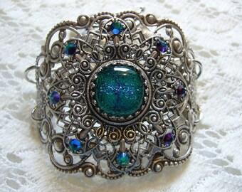 Teal Surprise Dichroic Victorian Bracelet