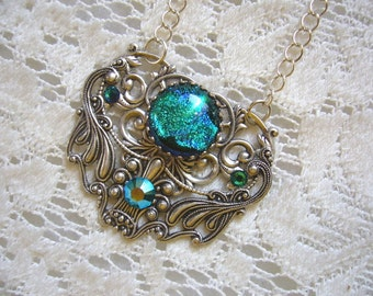 Ocean Blue Green Victorian Pendant And Necklace