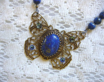 Blue Lapis Butterfly Victorian Necklace