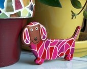 Dachshund Fridge Magnet - Painted Mosaic in Reds