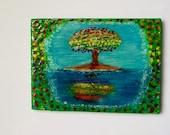 Fridge Magnet - Rainbow Tree Reflection ACEO ATC Size