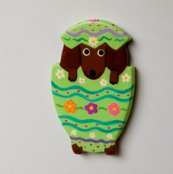 Dachshund Fridge Magnet - Puppy in an Easter Egg
