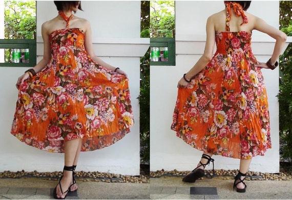 4 Ways Halter Top Full Sun Dress and Skirt in Orange