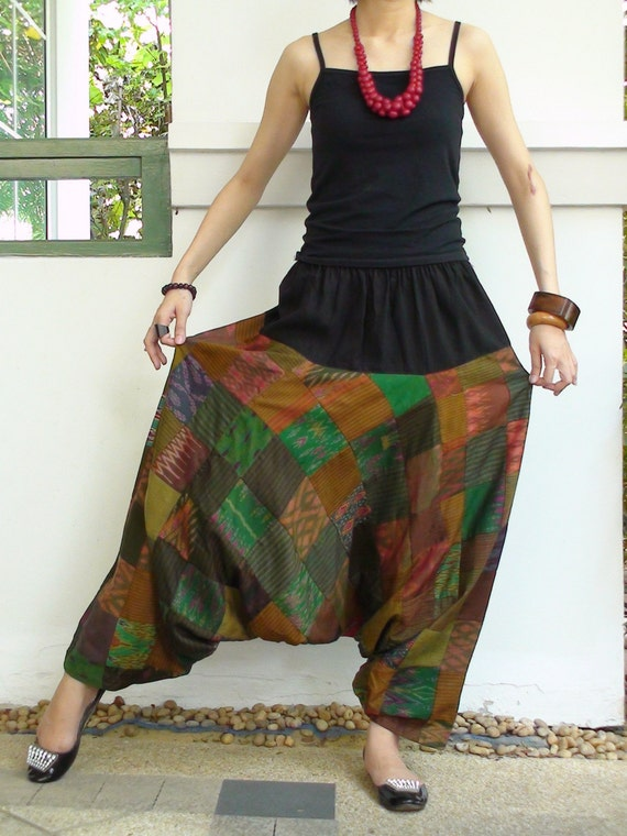 CLEARANCE SALE-Be Casual Elegant....Patchwork Mudmee Silk Harem Pant