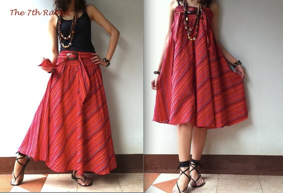 Breezy.. stripe skirt or dress in red shade