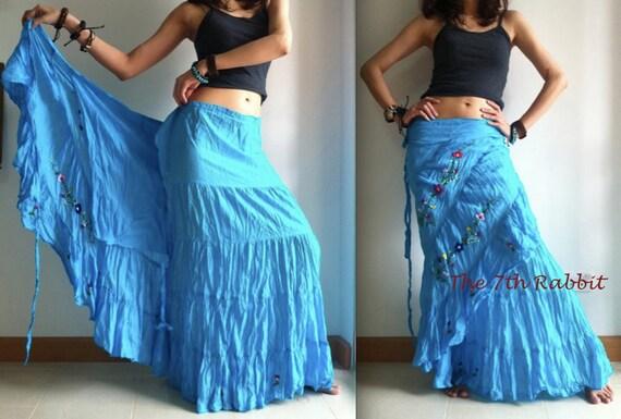 Sweet Treasure... Ruffle Wrap Skirt in Ocean Blue