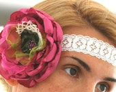 Four in one- Pink rose-Headband,wrist corsage,necklace,brooch.