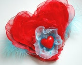 you're my heart, you're my soul, organza heart, weddings accessories, Valentines day gift, mothers day gift, brooch comb hair clip, red blue