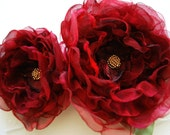 Burgundy roses-Set of 2 two handmade flowers-Bride,bridesmaid-Brooch, hair clip, comb, bobby pin,alligator clip,flowers for sach.