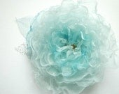 RESERVED for LINDA-Mint blue-Handmade organza flower-Weddings Accessories Hair Jewelry Brooch Sash Fascinator- Bridal, bridesmaids.