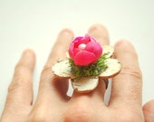 woodland ring, apple cherry blossom, weddings accessories, jewelry, birch ring, bridesmaids favor, nature, outdoor wedding, spring, pink