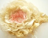 RESERVED-Champagne-cream-beige-pink romantic rose-Bride,bridesmaids-Vintage Weddings Accessories Hair-Brooch,corsage,fascinator,comb.