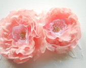 Pale pink peach roses-Set of 2 romantic flowers-Corsage,brooch,fascinator,shoe clips,sash-Weddings accessories hair Bride,bridesmaids
