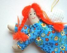 fairy, guardian angel, baby, children room decor, mobile, birthday gift, for girl, mothers day gift, blue orange