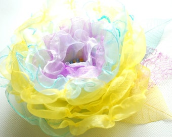 SALE, yellow aqua blue lavender, handmade organza flower, bridal hair clip, bridesmaid hairpiece, brooch, comb, flower for sash, spring