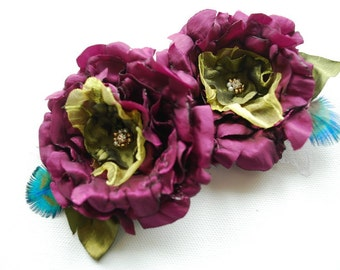 purple plum green taffeta bridal flowers, weddings accessories, bridal purple hair clip, peacock, bridesmaids purple headpiece, flower girls