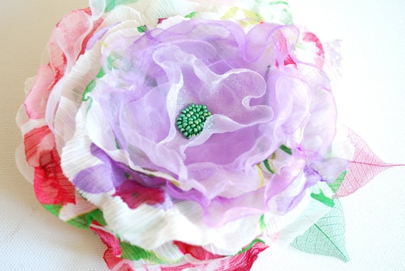 SALE-SALE-Lavender-green-red-Handmade fabric flower-Bride,bridesmaid-Brooch,comb or hair clip