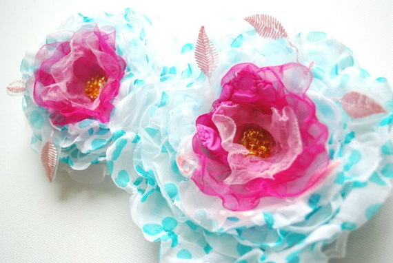 polka dots aqua blue white pink chiffon flowers, weddings accessories, bridal hair clip, bridesmaids headpiece, blue pink flower sash, prom