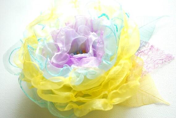 SALE, yellow aqua blue lavender, handmade organza flower, bridal hair clip, bridesmaid hairpiece, brooch, comb, flower for sash, spring