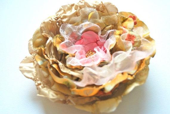 Vintage inspired taffeta organza  flower-Bride, bridesmaid, victorian style-Brooch,hair clip,head piece,flower for sash.