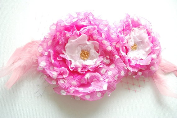 SALE-SALE-Pink-white polka dots flowers-Set of two chiffon flowers-Weddings Accessories Hair Brooch-Bride,bridesmaid,girl photo prop