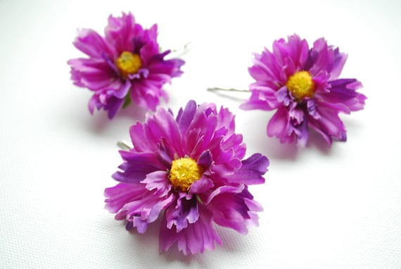 purple fuchsia yellow, wild flowers, set of 3 bobby pins, weddings accessories, bridal hair clip, bridesmaids, flower girl, photo prop