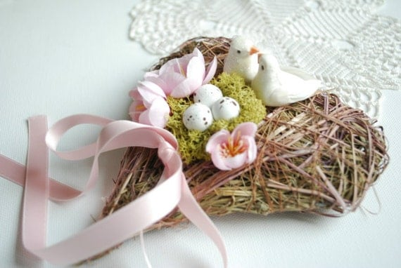 RESERVED for Jaypriya Pillay-Love nest-Ring bearer pillow-Dove,birds,heart-Nature,woodland,rustic,vintage,shabby chic