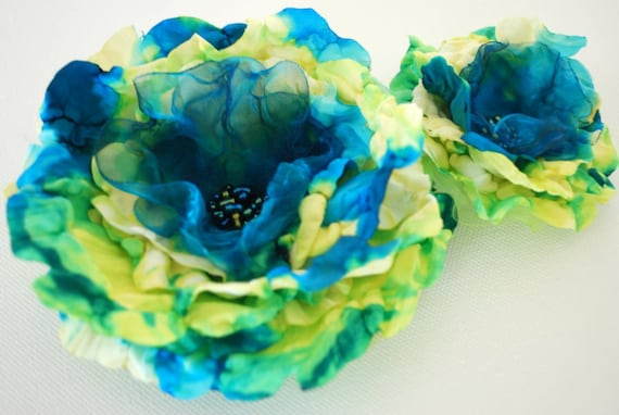 Teal blue-green-yellow peony-Set of two flowers-Bride,bridesmaids,flower girls-Brooch,fascinator,corsage,flowers for sash.