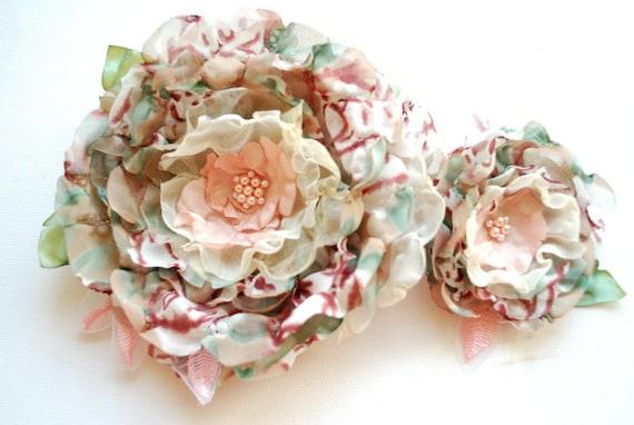Pale pink-burgundy-paris green-Set of 2 romantic flowers-Weddings Accessories Hair-Corsage,broosh,fascinator,sash-Bride,bridesmaids