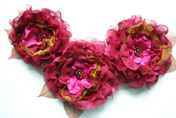 CUSTOM ORDER-fuchsia pink antique gold flowers, weddings bridal hair accessories, bride, bridesmaids, flower girls, brooch, shoe clips,sach