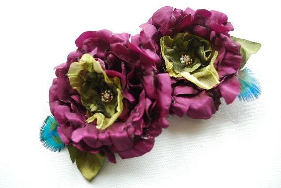 purple plum green taffeta bridal flowers, weddings accessories, bridal purple hair clip, peacock, bridesmaids purple headpiece, flower girls