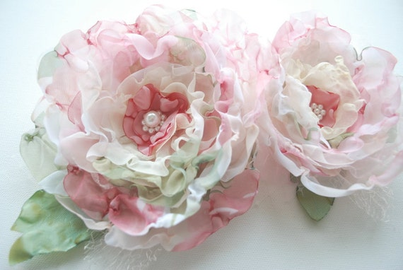 Romantic roses-Set of 2 (two)-Pale pink,ivory,paris green-Weddings Accessories Hair Bride, bridesmaids-Brooch,fascinator,flowers for sash.