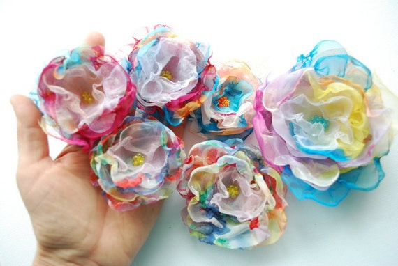 SALE-Colorful handmade chiffon flowers-Set of six-Weddings Accessories Carnival Hair Brooch,flowers for sash-Bride,bridesmaids,flower girls