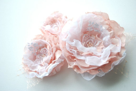Pale peach pink white roses-Set of 3 taffeta flowers-Weddings Accessories Hair Belts Sashes-Corsage,brooche,fascinator-Bride,bridesmaids