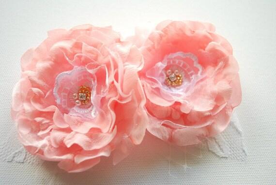 Pale pink peach roses-Set of 2 romantic flowers-Corsage,brooch,fascinator,shoe clips,sash-Weddings accessories hair Bride,bridesmaids