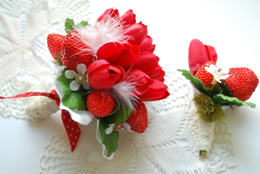reserved for kim strawberry wedding red bridal bouquet