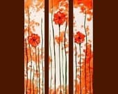 Orange Poppy Triptych Commission by Kristen Dougherty