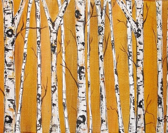 Birch Trees on Golden Brown with Real Texture Commission by Kristen Dougherty