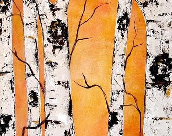 Golden Birch Trees with Real Texture Commission by Kristen Dougherty