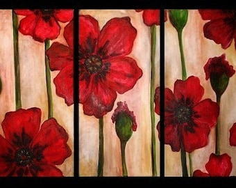 Red Poppy Triptych Commission by Kristen Dougherty