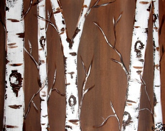 Birch Trees on Chocolate Brown Commission by Kristen Dougherty