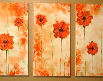 Abstract Poppy Triptych Commission by Kristen Dougherty-Free Shipping