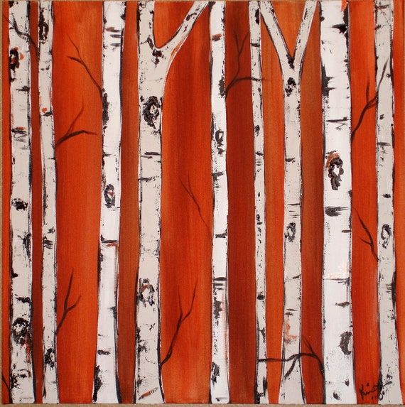 Birch Tress on Burnt Orange Commission with real texture by Kristen Dougherty
