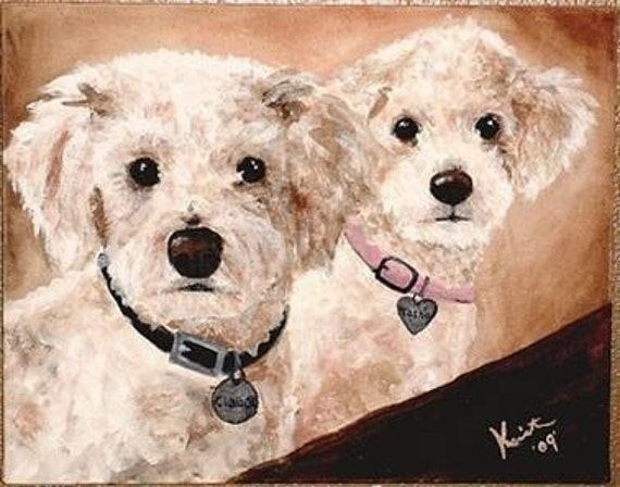 Custom Pet Portrait with Two Pets 12 x 15 by Kristen Dougherty