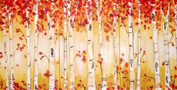Autumn Aspen Triptych Commission by Kristen Dougherty